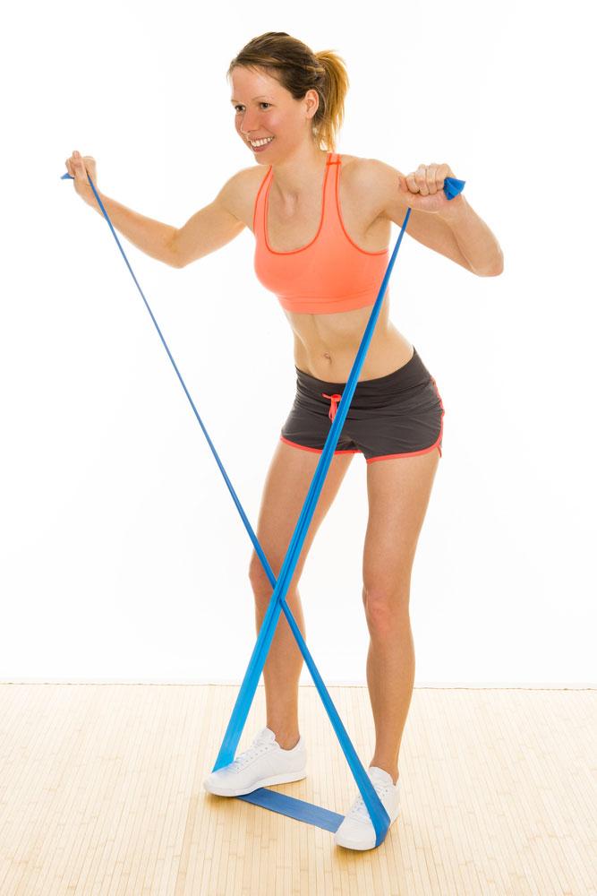 Theraband-Übung für den Bauch, Theraband-Übung für den Po, Trainieren für den Rücken