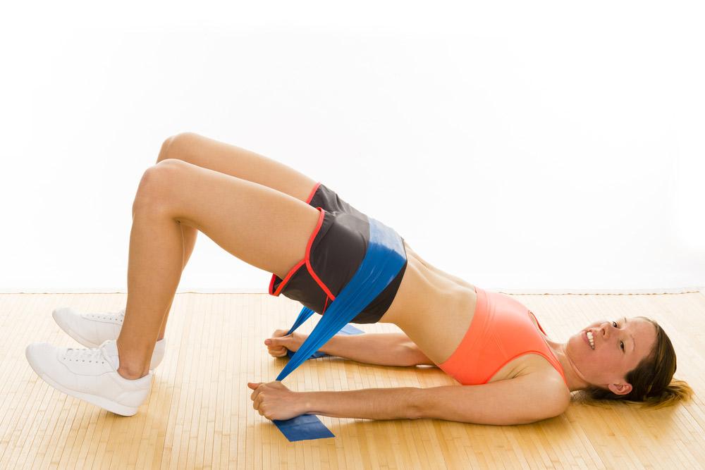 Theraband-Übung für den Bauch, Theraband-Übung für den Po, Theraband_Übung für den Oberschenkel